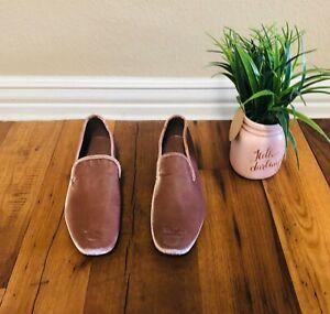 NEW-Vince-shoes-Velvet-Slip-On-Loafers-Hydrangea-Pink-or-beige-Smoking-Slipper