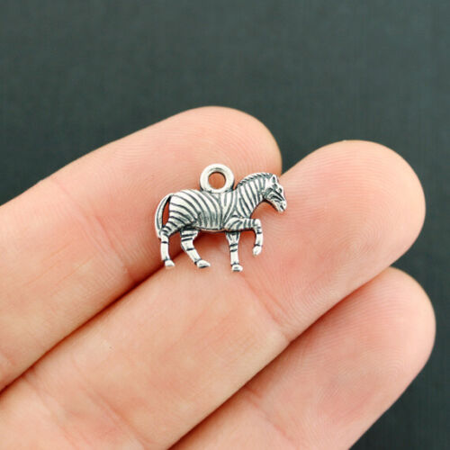 SC7915 2 Zebra Charms Antique Silver Tone 2 Sided Incredible Detail