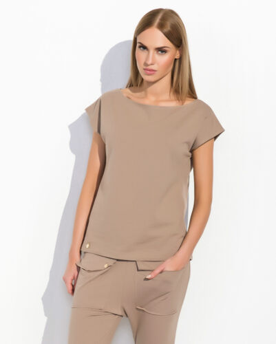 Womens Casual Plain Top Short Sleeve Cotton Rich T-Shirt Blouse Size 8-12 FA490