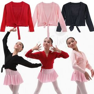 795c8cd344d2 Girls Kids Ballet Cardigan Crossover Wrap Bolero Shrug Knitted Dance ...