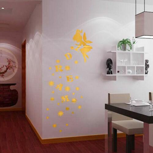 DIY Mirror Acrylic Vinyl Removable Wall Sticker Decal Home Decor Multiple Shape
