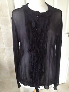 Elizabeth-Emanuel-Knitwear-Sheer-Black-Cardigan-Size-XL-New-With-Tags