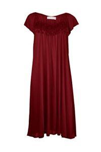 EZI-Women-039-s-Satin-Silk-Ruffle-Nightgown-Red-1X