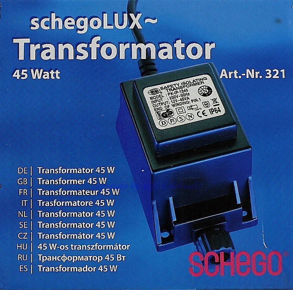 Schego Lux Transformator 45W mit Rundbuchse  für das Schego Lichtprogramm