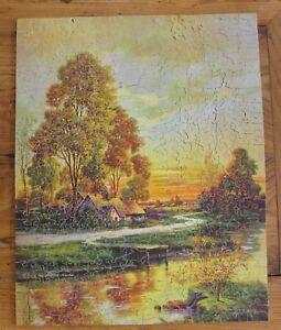 Ancien Puzzle Anglais Bois Découpé Main - 500 P Early Autum Complet