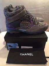 CHANEL High Top Runner Tweed Suede Gray & Purple Sneakers Trainers 41