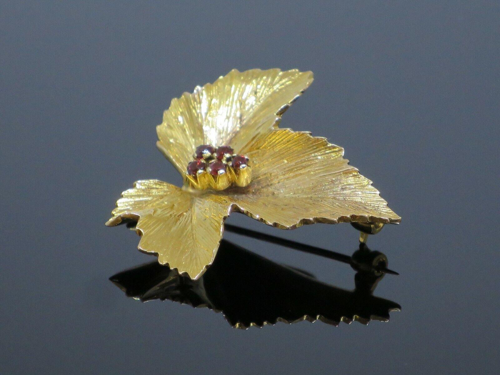 "Vintage ""Sycamore Leaf"" 0.15CTW Garnet 9K Yellow … - image 4"