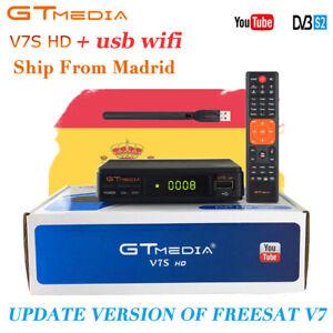 FTA GTMEDIA DVB-S2 V7S+Wifi Satellite TV Receiver Digital Full HD 1080p Bisskey