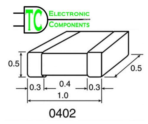 0402 SMD//SMT Condensateurs Céramiques 1pF-1uF Pack 20 MÊME JOUR EXPÉDITION * Vendeur Britannique