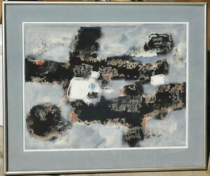 Vintage-1960-abstract-gouache-18-x-24-signed-mystery-artist