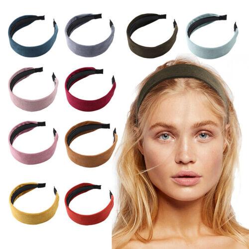 Girl Striped Corduroy Headband Plastic Hairband Wide Hair Hoop Accessories Solid