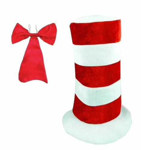 Kids Dr Seuss Red White Stripe Tall Hat And Red Bow Tie 2 Pcs Fancy Party Set