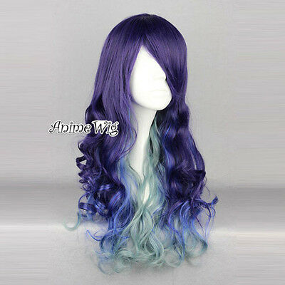 Lolita Harajuku Anime Cosplay Wig Perücke gelockt gewellt lila blau grün lang