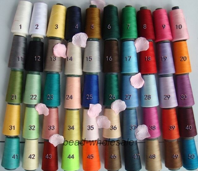 3000 Yards Quality Overlocking Sewing Machine Polyester Thread Cones, 50 Colors