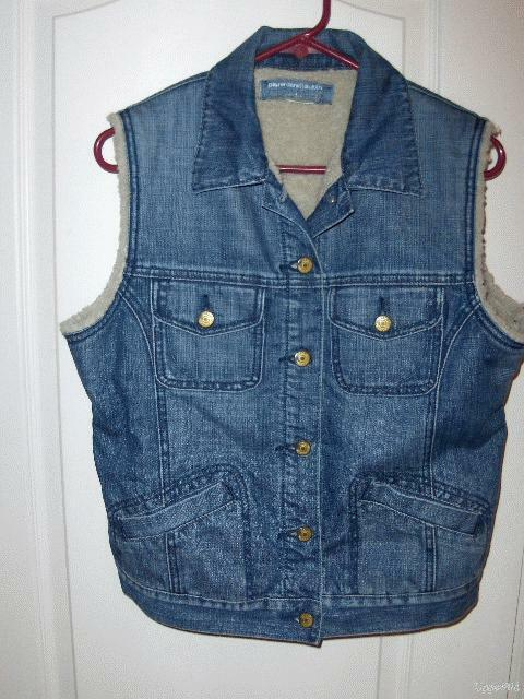 PAPER DENIM & CLOTH Fleece sherpa lined jean denim utility boxy VEST Heidi 4 6