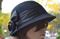 100% Wool Cloche Flapper Women's Bell Derby Church Dress Winter Hat Cap 4 Colors