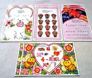 4-Vintage-Valentines-Day-Cards-Paper-Ephemera-GAMES-Rebus-Connect-Dots-Puzzle