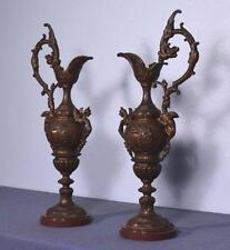 *Pair of Antique French Neogothic Marble & Bronzed Spelter Ewers/Urns/Vases