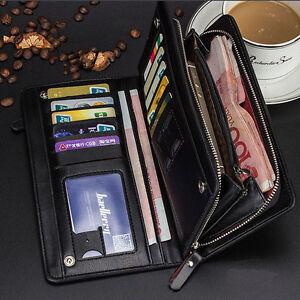 Men-039-s-Leather-Bifold-Credit-Card-Holder-Wallet-Checkbook-Zip-Coin-Purse-Clutch
