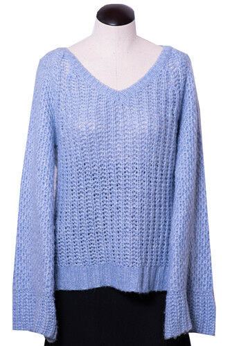 Anthropologie MOTH Periwinkle bluee Chunky Chunky Chunky Sweater Bell Sleeves Loose Knit Size M 99ca6b