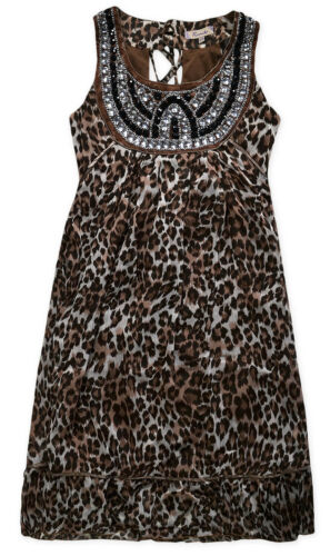 Ladies Animal Print Dress New Womens Sleeveless Leopard Chiffon Dress UK 8-14