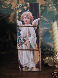 Victorian Christmas Shelf Puzzle Blocks Vintage Angels