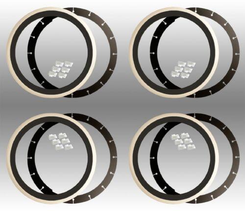4x Moon cappucci BIANCO MURO Anelli Nero Bianco 15 pollici VW BUS t1 t2 t3 t4 t5 Multivan