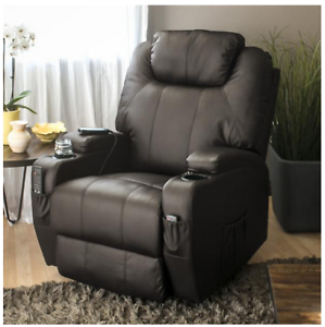 Recliner-Chair-Swivel-Sofa-Armchair-Lounge-Leather-Heat-Massage-Seat-Brown
