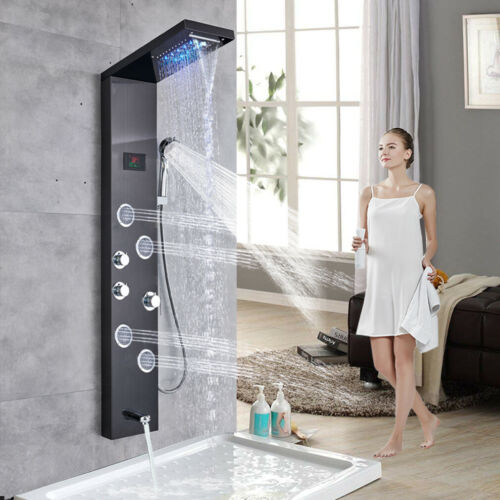 LED Shower Panel Tower Rain/&Waterfall Massage Body System Tub Stainless Steel