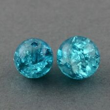 200 x  Blue Crackle Glass Beads Jewellery Craft  - 4mm - LB1254