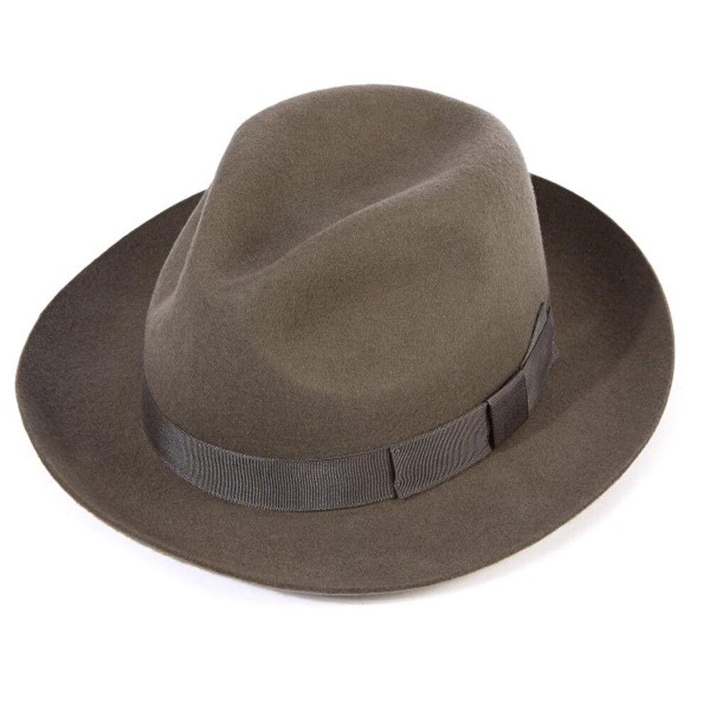Light Brown Fur Felt *RRP £120* Marlborough Snap Brim Trilby Hat by Christys/'