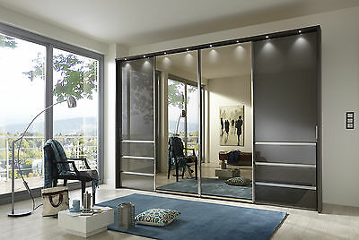 Alert Wiemann German Mailbu 300cm Sliding Wardrobe Bedroom Graphite Grey Fitted Free Sale Overall Discount 50-70% Home & Garden Armoires & Wardrobes