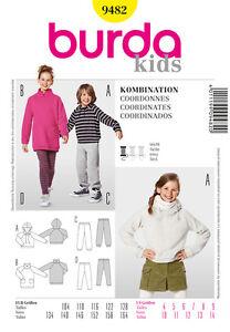 BURDA-9482-PATRON-DE-COUTURE-ENFANTS-COORDONNES-ROBE-CHEMISE-LEGGINS-SHIRT