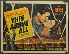 """THIS ABOVE ALL 1942 ORIG. 22X28 """"A"""" MOVIE POSTER TYRONE POWER JOAN FONTAINE"""