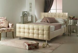 Cream Cubed Leather Bed Frame 3ft New Exclusive Design Perfect For