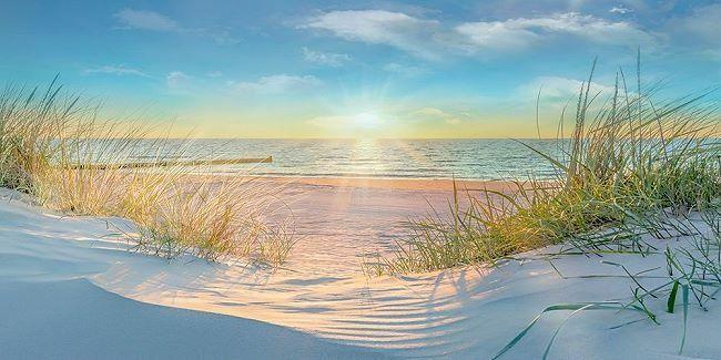 Mike Calascibetta  Waiting for Me Keilrahmen-Bild Leinwand Strand Dünen Meer