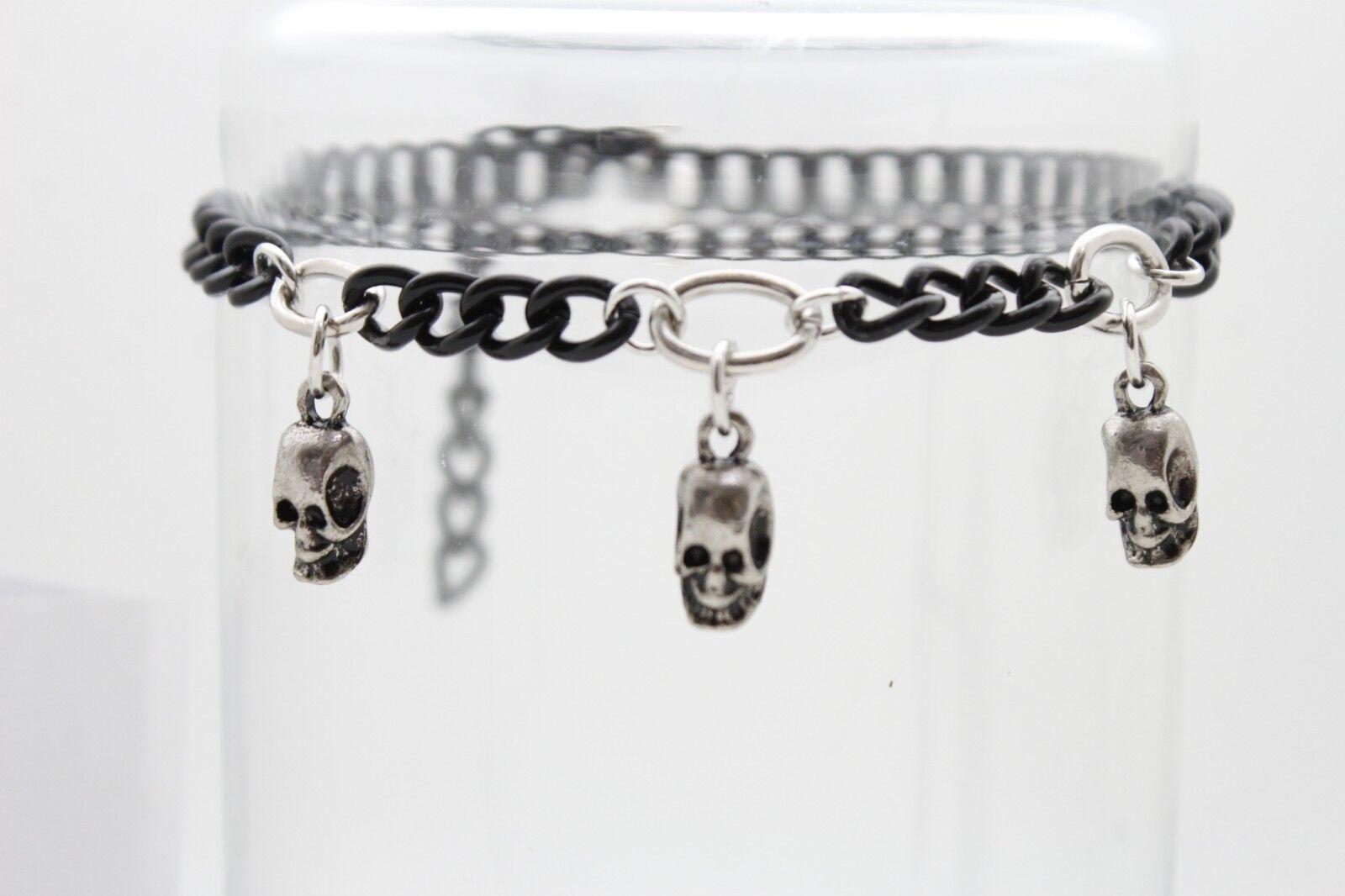 Women Silver Black Boot Chain Bracelet Shoe Skull Charm Gothic Biker Rocker Look
