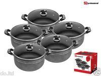 NON STICK CASSEROLE POT SET GLASS LID. COOKING PANS, 5 pieces set, 18-26