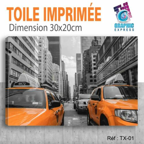 TOILE IMPRIMEE TAXI NEW YORK TX-01 TABLEAU DECORATION MURALE 60x40cm