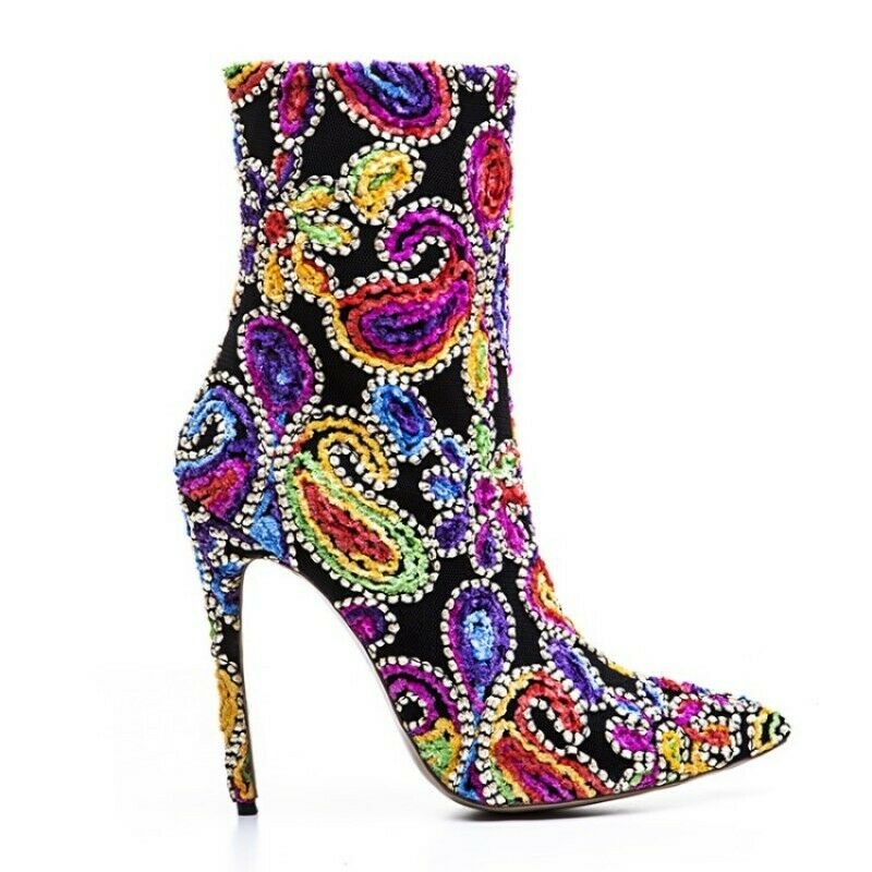 Hot SZ Women's Luxurious Flower Ankle Boots Point Toe Stiletto Pumps Embroidery