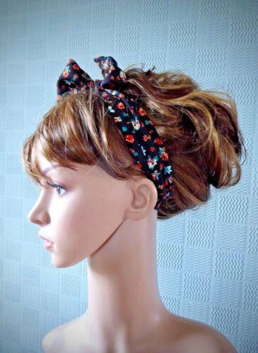 Black flowered hair scarf ditsy self tie retro forties vintage look