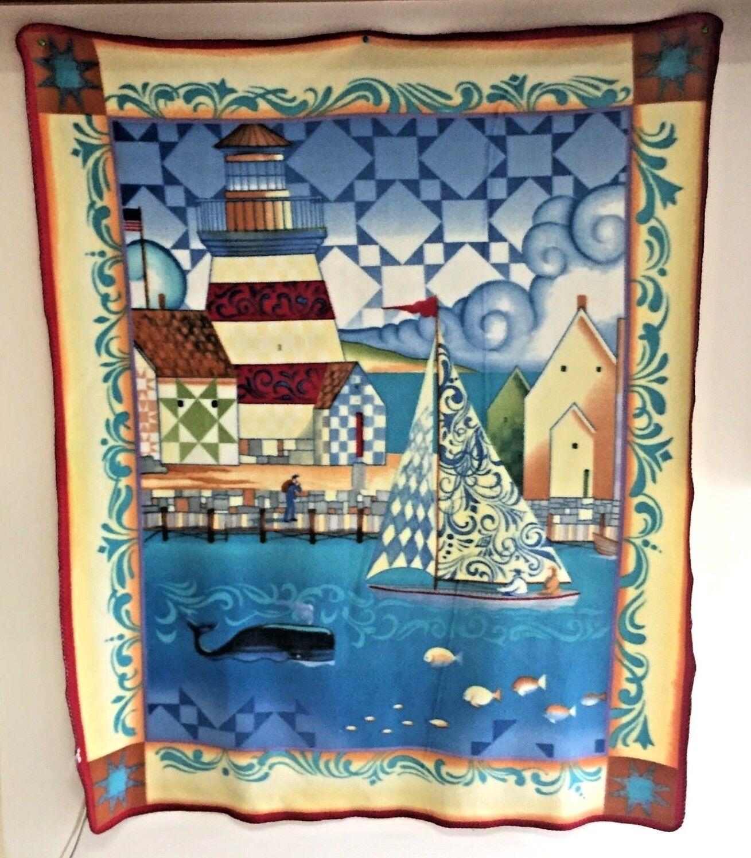 NAUTICAL BEACH Blanket OCEAN WHALE Lighthouse WARF 50X60