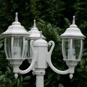 Détails sur Candélabre Lampadaire extérieur Design Classique Lanterne de  jardin Blanc 12543