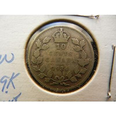 1H. 1934 Canadian 10 Cents 80% Silver Lot 1H