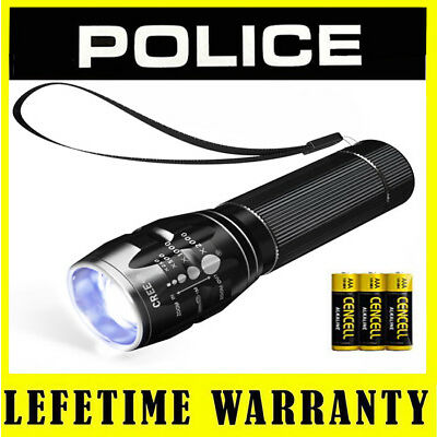 LED Flashlight POLICE Adjustable Focus 3 Light Modes Torch + Battery Included
