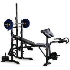 Standard Gym Weight Bench With Weights Set 120 Lb Bar Press Dumbell Set Barbell