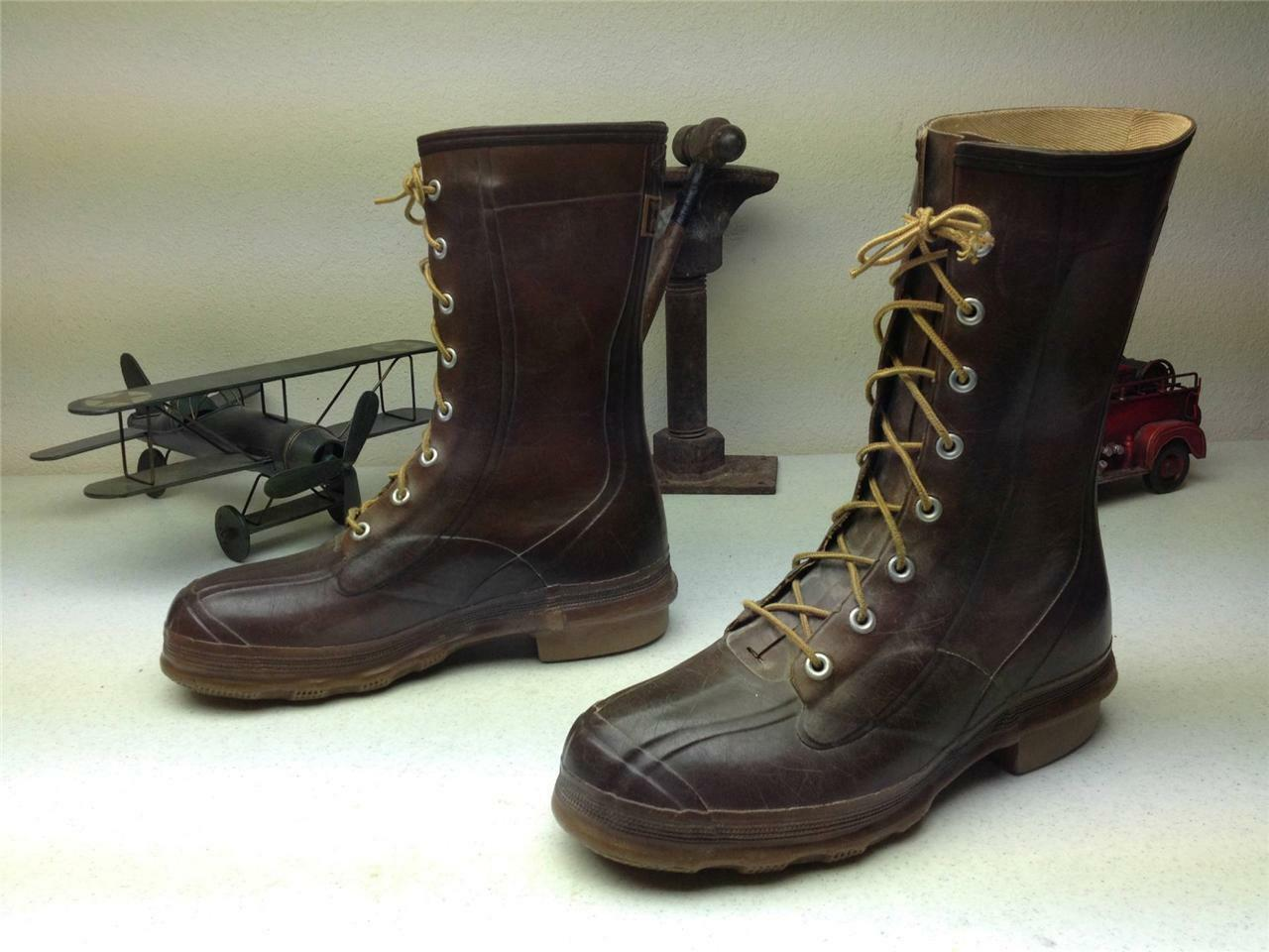 VINTAGE MADE IN USA DISTRESSED BROWN BALL BAND RAIN BOOTS SIZE 10-10.5