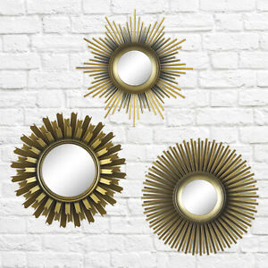 Gold 3-Piece Round Sunburst Mirror Set Wall Decor Accent ...
