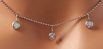 Made in Italy! .45 Carats Natural Diamond 14K Solid White Gold Necklace