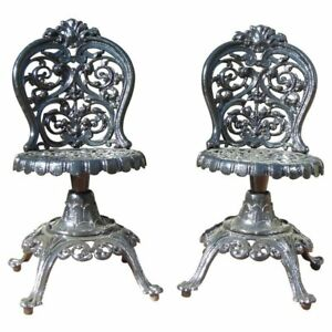 Image Is Loading Victorian Garden Chairs Cast Iron Pr Swivel